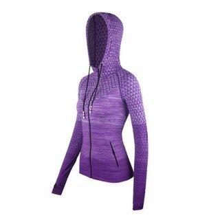 Zip Pakaian Kecergasan Pakaian Pakaian Dengan Hat Yoga Áo Sơ Mi Panjang Lancar Pakaian Luar Gadis Sukan Jersi Wanita Áo Kot Berlari Jaket Sukan thumbnail