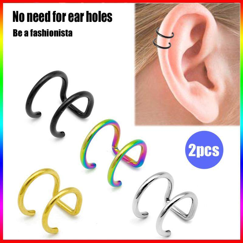 07f1b13cf 2pcs Fashion Womens Stainless Steel Non-piercing Fake Nose Ring Clip-on  Cartilage Earring