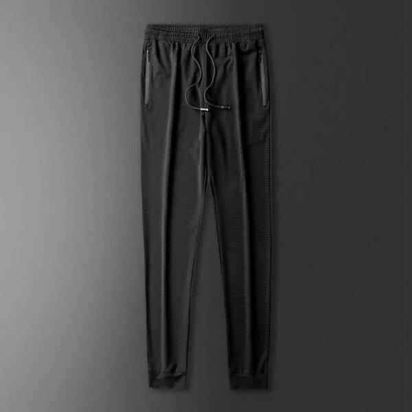 Sutera Ais Stretch Mesh Casual Pants Sukan Lima Suku Seluar Pendek Trend Straight Short SleeveTShirt Lelaki Set