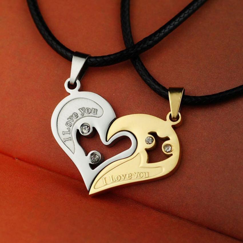 2Pcs Men Women Lover Couple Necklace I Love You Heart Shape Pendant Chain Jewel White Gold