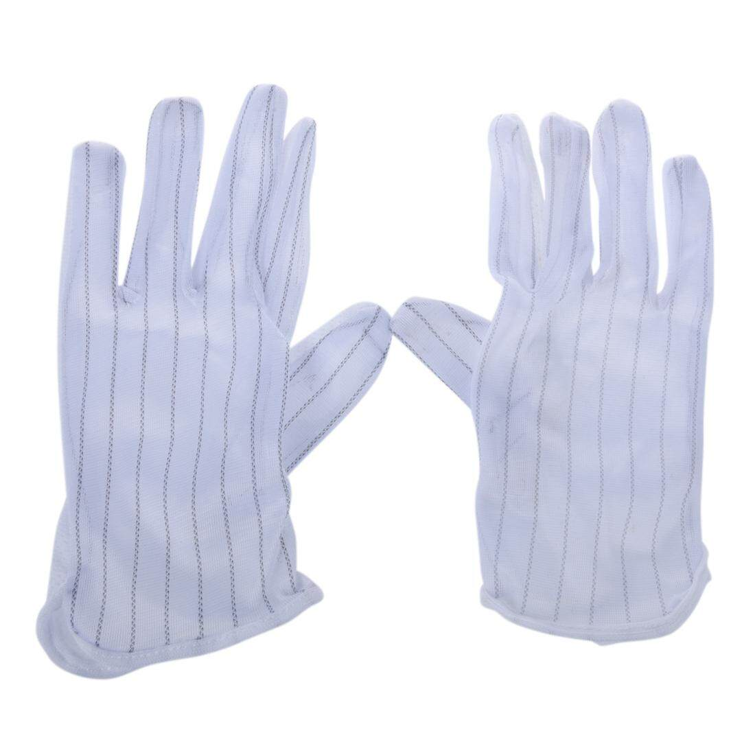 1 Pair Anti-static Anti-skid Gloves ESD PC Computer Electronic Working White New (Intl) - intl