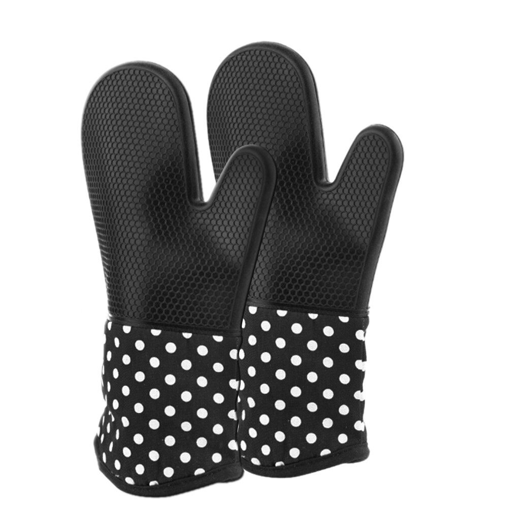 ZB 1 Pair Kitchen Oven Baking Gloves Microwave Silicone Gloves High Temperature Heat Resistant Insulated Non