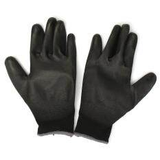 1 Pair PU Palm Coated Protective Safety Anti Static Work Worker Gloves Builders Black L