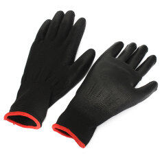 1 Pair PU Palm Coated Protective Safety Anti Static Work Worker Gloves Builders S (Black)