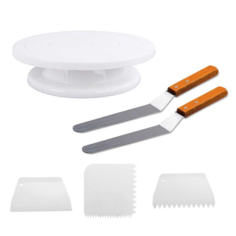 1 PCS Cakes Turntable + 2 PCS Baking Frosting Spatulas + 3 PCS Pastry Scraper Combs For Decorating Rotating Cake - intl