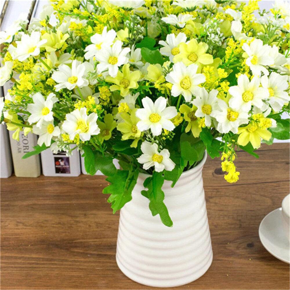 1 set 28 Heads Artificial Bunch Fake Silk Daisy Flower Hydrangea Wedding Party Bouquet Bridal Home