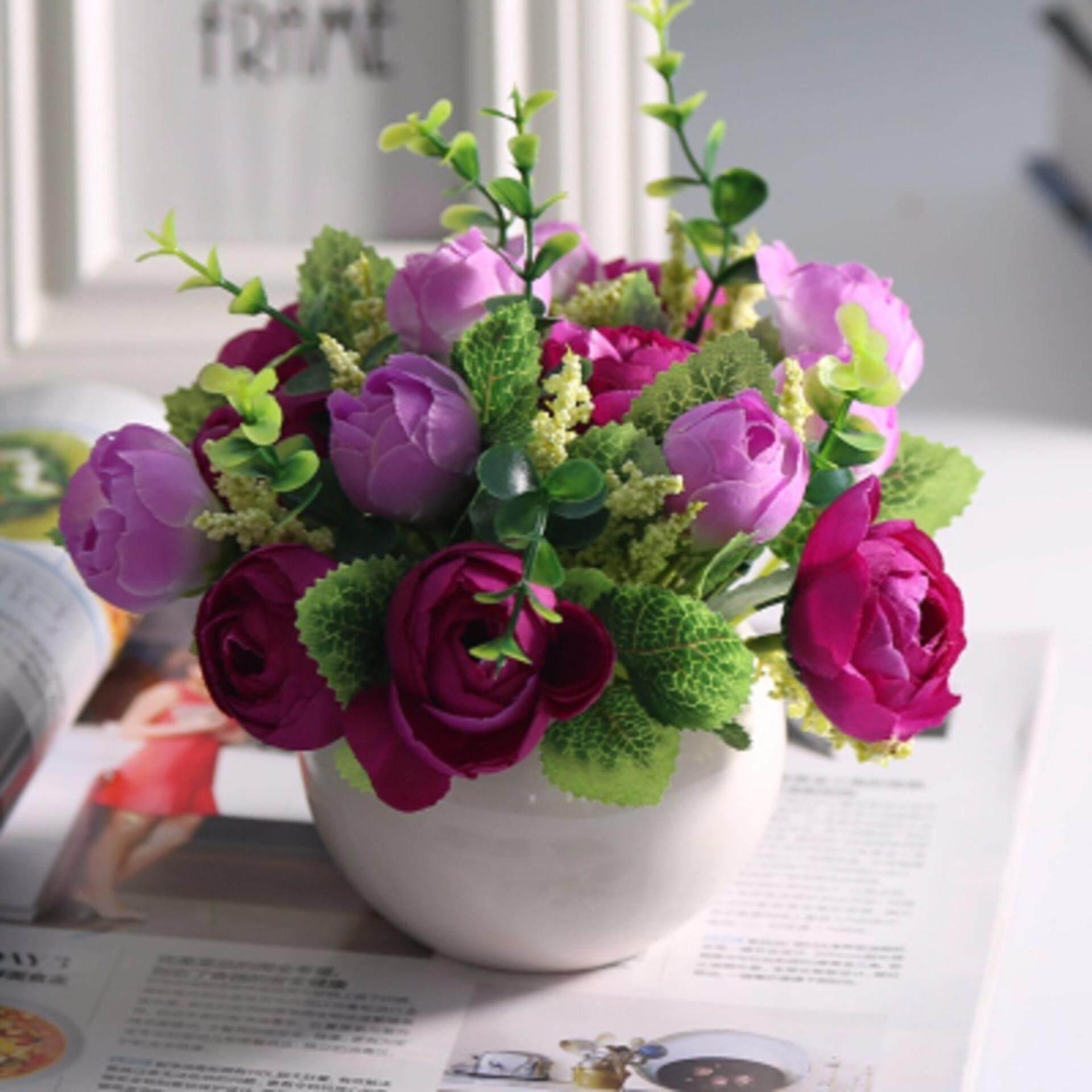 1 X Mini Potted Artificial Flowers European Artificial Plants Party