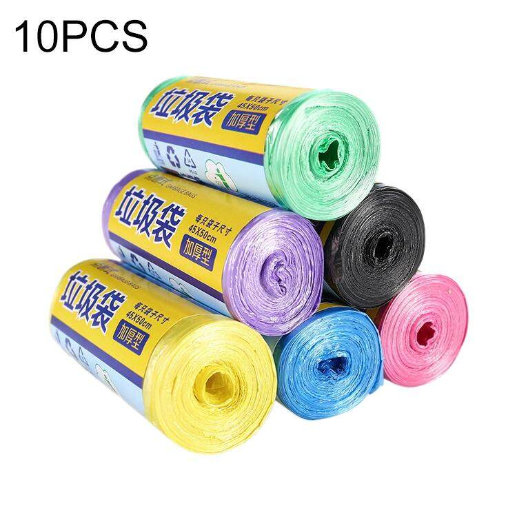 10 Rolls Household Colour Thickening Big Garbage Bags (30 PCS Per Roll), Random Color Delivery, Size:45*50cm - intl