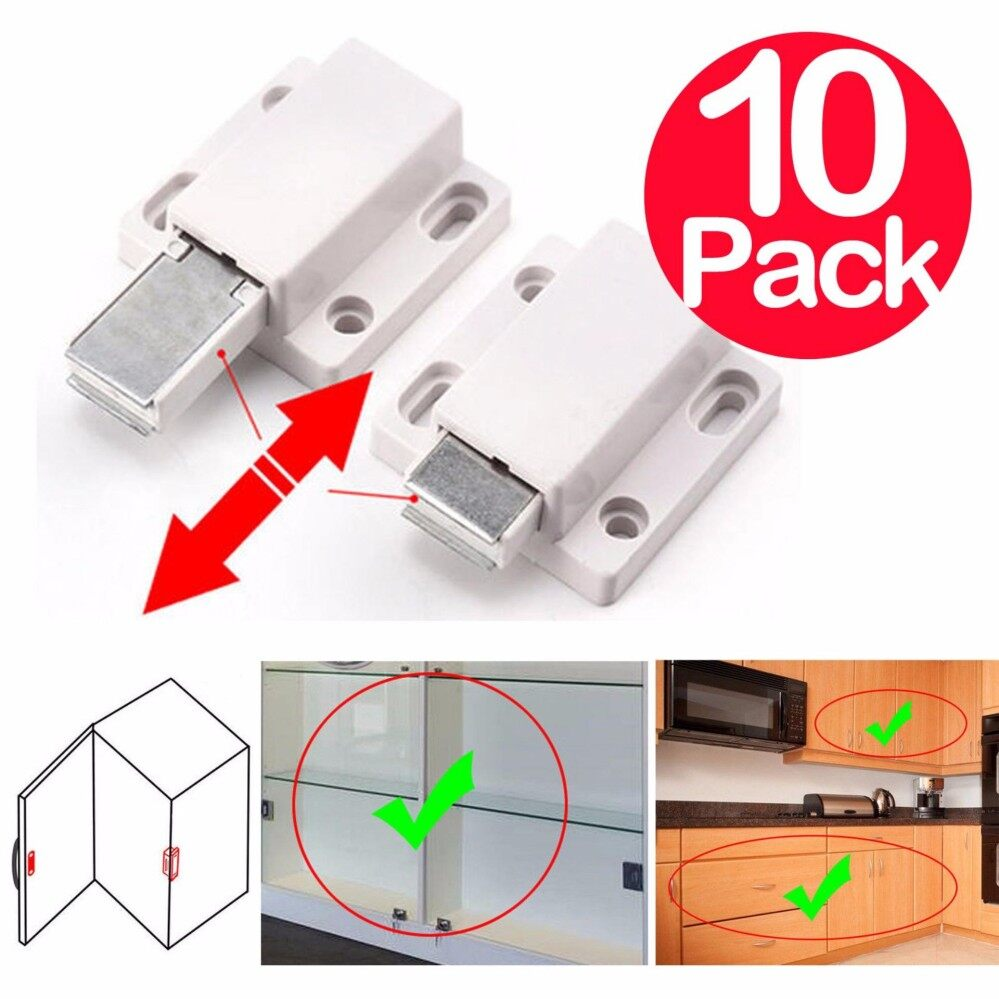 10 x Magnetic Pressure Touch Release Kitchen Cabinet Doors Push To Open Latches White Magnetic Door Drawer Cabinet Catch Latch