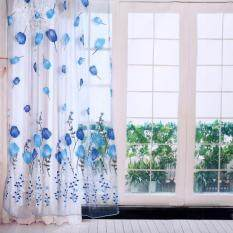 Epayst 100*200cm Tulips Printing Tulle Curtains Sheer Drape Balcony Window Decoration Blue By Epayst.