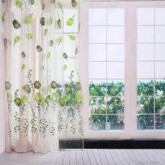 Epayst 100*200cm Tulips Printing Tulle Curtains Sheer Drape Balcony Window Decoration Green By Epayst.