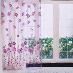 100*200cm Tulips Printing Tulle Curtains Sheer Drape Balcony Window Decoration Purple By Epayst.