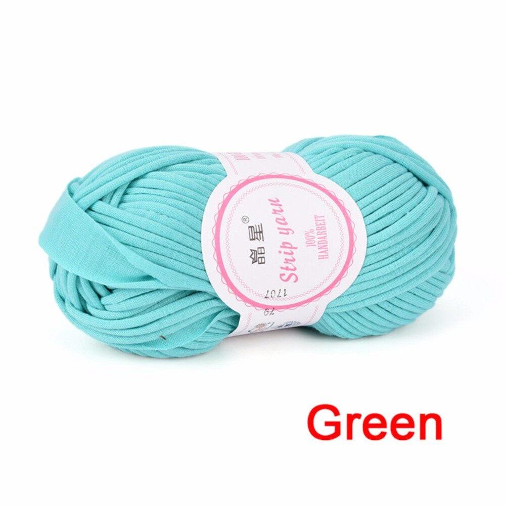 100g Hand Knitting Blanket Basket Rugs Wool Yarn DIY Crochet Mats Elastic Cloth Green 2cm -