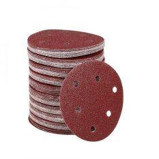 100Pcs 125mm Round Shape Orbit Sander Sand Paper Discs 6 Holes Grit Sanding Sheets (40#)