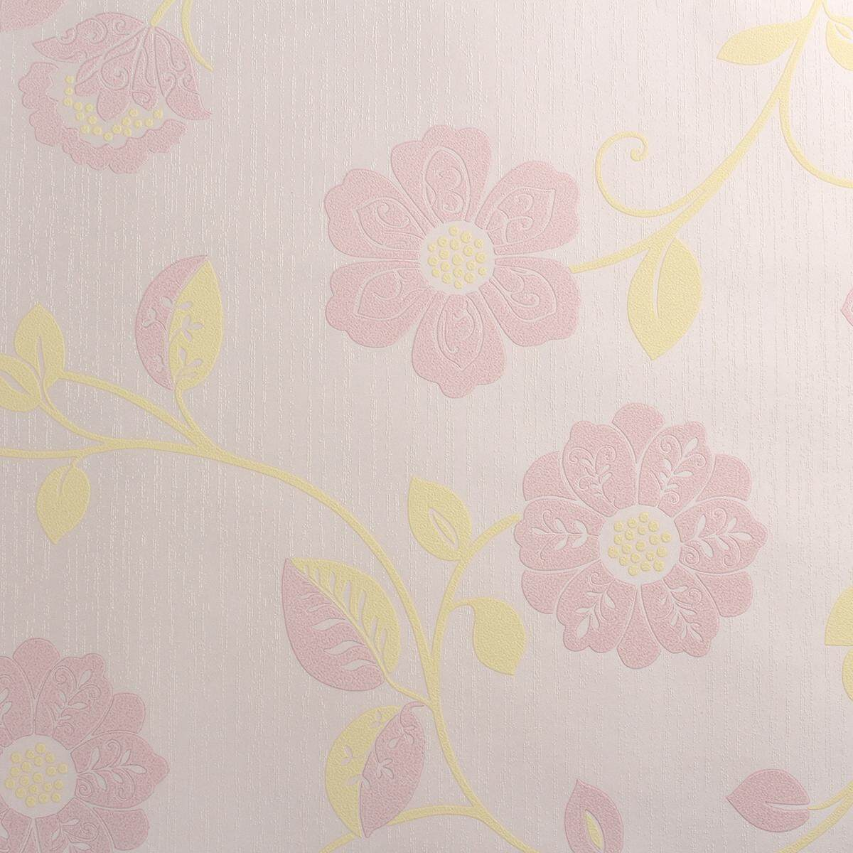 10M Floral 3D Embossed Textured Non-woven Home Room Wallpaper Wall Paper Rolls Pink -