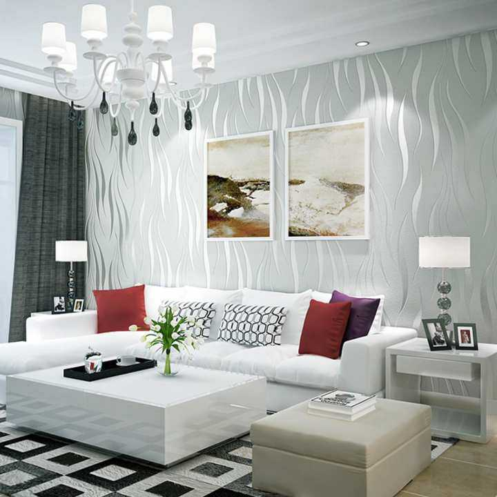 10m Silver 3D Non-woven Wave Stripe Embossed Wallpaper Rolls Living Room Home Decoration Background
