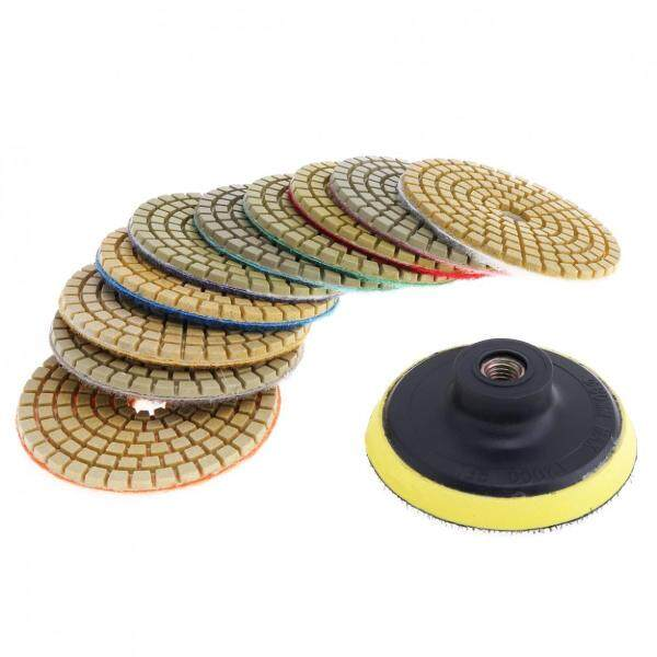 10pcs 3 Inch Diamond / Marble / Granite Flexible Wet Stone Polishing Disc with Sticky Plate