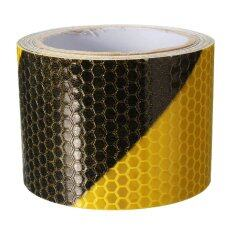10pcs 3M Black Yellow Night Reflective Safety Warning Conspicuity Tape Film Sticker