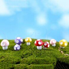 Orange Sunshine 10Pcs Cute Mini Mushroom Garden Ornament Miniature Plant Pots Fairy Dollhouse Multi