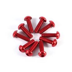 epayst 10pcs M3 10mm Button Round Head Aluminum Alloy Metric Hex Socket Cap Screw Bolt Red