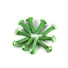10pcs M3 6-10mm Button Round Head Aluminum Alloy Metric Hex Socket Cap Screw Bolt (Green)