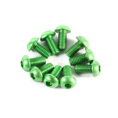epayst 10pcs M3 6mm Button Round Head Aluminum Alloy Metric Hex Socket Cap Screw Bolt Green