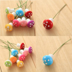 10Pcs Red Mini Mushroom Ornament Miniature Pots DIY Dollhouse Red Foam Mushroom