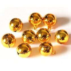 10pcs Small Gold Jingle Bell Copper Metal Fit Festival Jewelry Pendants Christmas Decor 8mm - intl