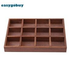 12 Grid Wood Storage Box Jewelry Container Desktop Succulents Potted Holder