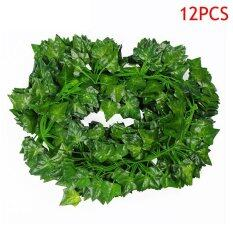 12 Pcs 2M Artificial Hanging Vine Plant Leaves Plastic Home Garden Wall Wedding Decoration