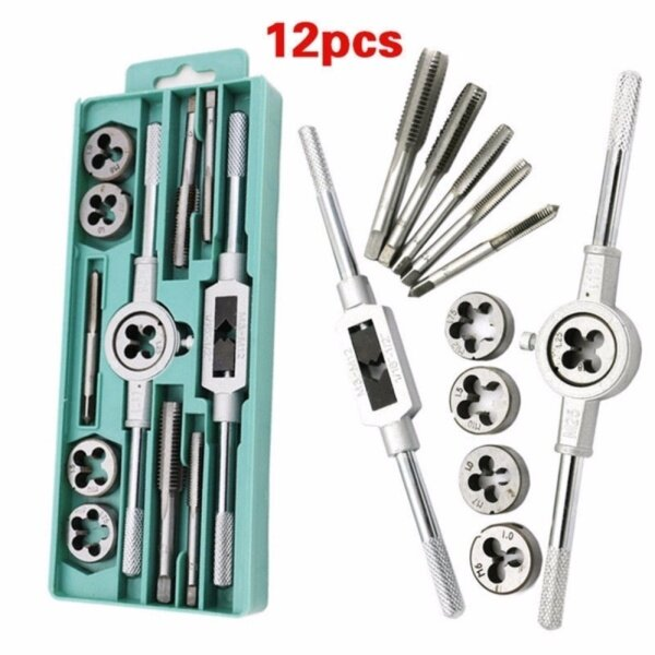 12 Pcs Metric Tap Wrench and Die Pro Set M6-M12 Nut Bolt Alloy Metal Hand Tools
