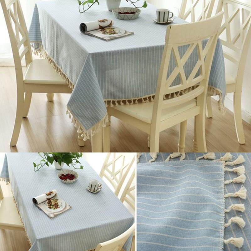 Recent 120 120Cm Modern Minimalist Cotton Striped Tablecloth Coffee Table Cover Home Party Oil Cloth Decor Intl