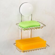 13*10*19CM Sucker Double Soap Box Soap Racks Stainless Steel Soaps Shelf