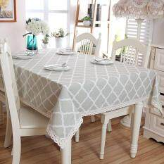 140*250cm Geometric Print Decorative Table Cloth With Lace Edge Cotton  Linen Table Cover Dining