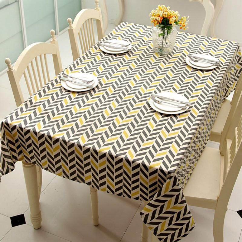 Recent 140 250Cm Geometric Printed Tablecloths Cotton Coffee Table Rectangle Table Cloth Home Decor Dining Table Cover Intl
