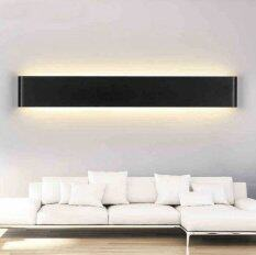 Hiqueen 14W 41cm Aluminum LED Wall Lamp Bedside Hallway Bathroom Mirror Light (Black shell,Warm white light)