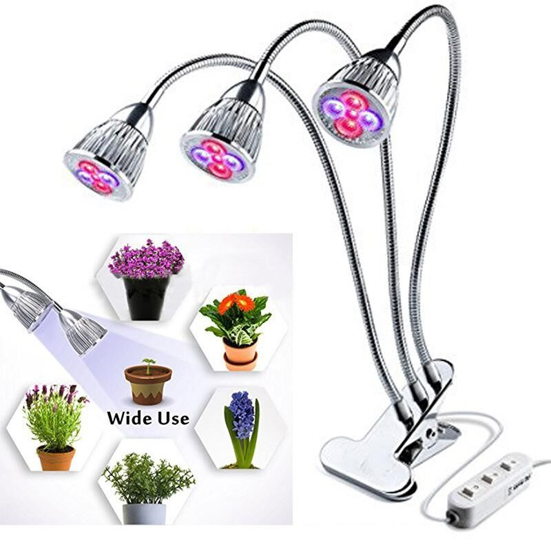 Store Hossen 15W Led 3 Head Full Spectrum Plant Grow Light With Clip Red Blue Light For Indoor Vegetable Cultivation Horticulture Industrial Seedling Power 15W Three Clip Plant Lights Us Regulations Intl Oem On Singapore