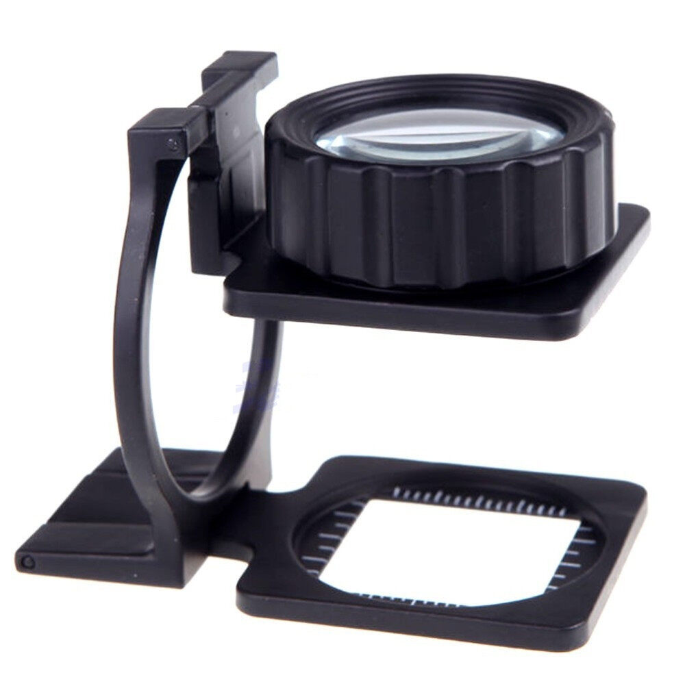 15X Foldable Magnifier Stand Measure Scale Loupe Magnifying Glass Portable Optical Instruments HT205+ - intl