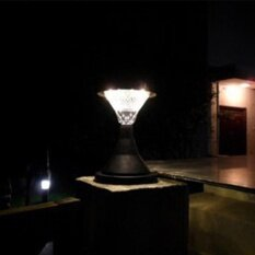 16 LED Outdoor Garden Path Landscape Fence Yard Pillar Lamp Solar Powered LED Light Color:Warm lightWhite light