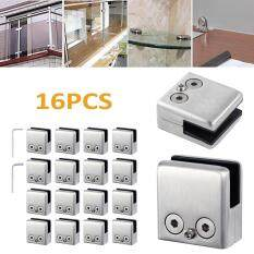 16PCS Stainless Clamp Holder Steel 304 Glass Clip Flat For Handrail Window