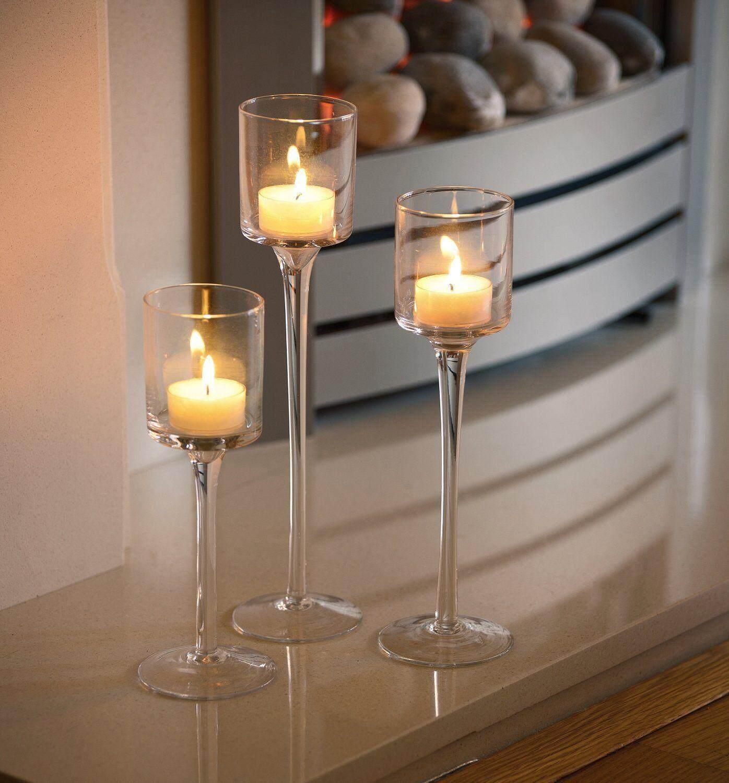 191819339246 set of 3 elegant tea light glass candle holders wedding table centrepiece intl