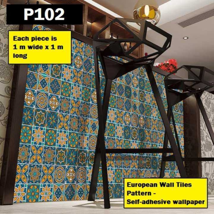 P102 Geometric Pattern Tiles European Bohemian Nordic Style PVC DIY Self-Adhesive Wallpaper Sticker Decal
