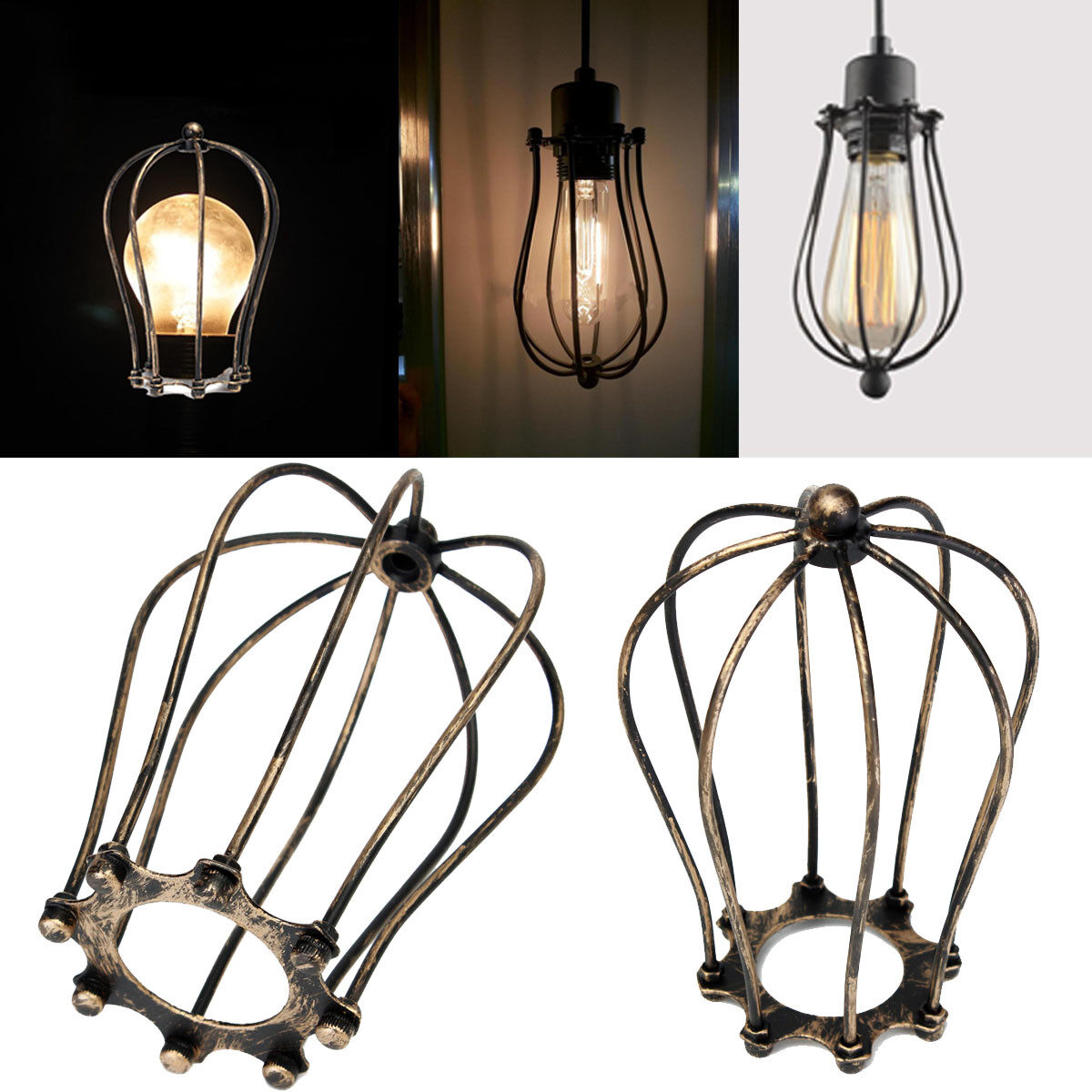 1PC Antique Brass Iron Wire Bulb Cage Lamp Guard Shade Vintage Trouble Light NEW - intl