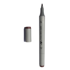 1pc Dual-tip Tattoo tubuh seni kulit Marker Pen datar tebal Tip penanda alat coklat