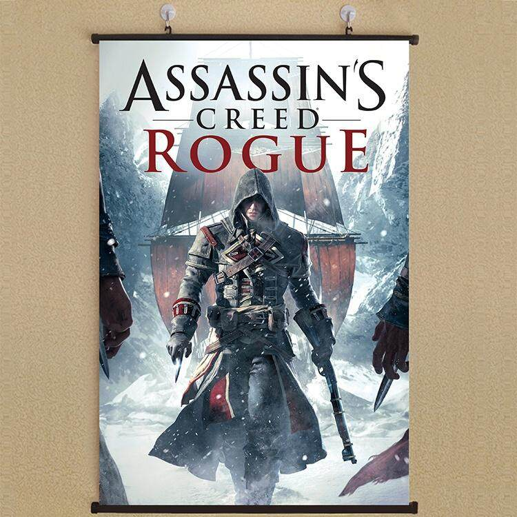 1Pcs 21*30cm Assassin 'S Creed Fabric Wall Scroll Poster Home Decor