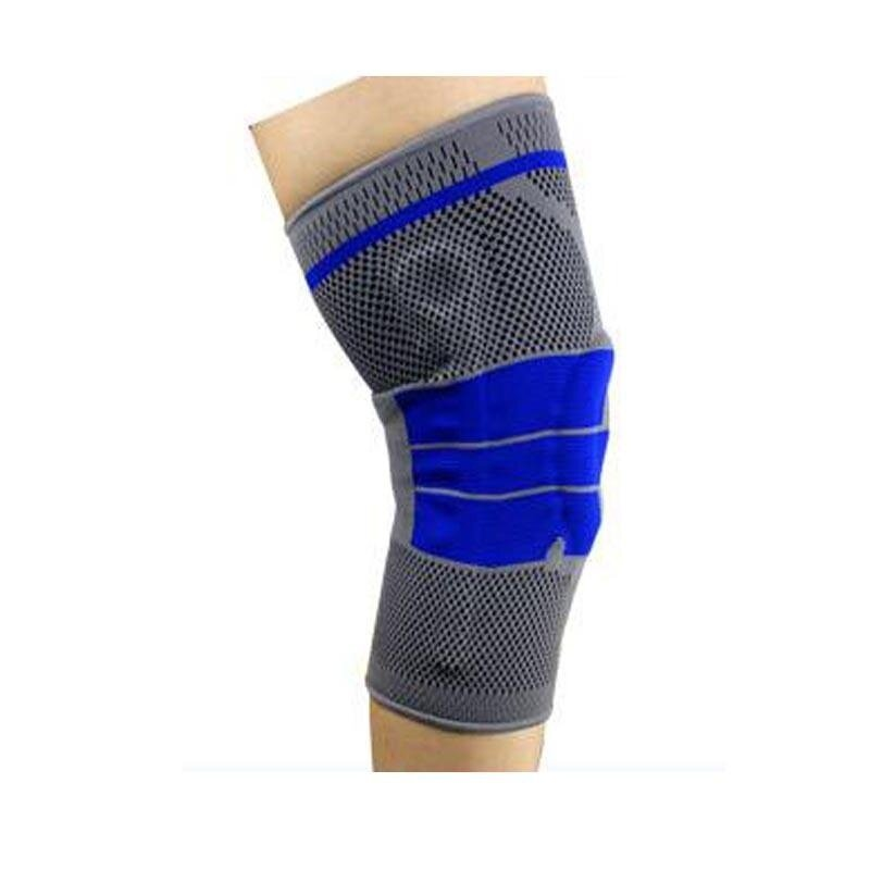 1pcs Summer Fitness Breathable Silicon Padded Knee Support Elastic Sports Leg Sport Cycling Knee Pad Wrap Support Brace Kneepad - dark grey(Size XL)