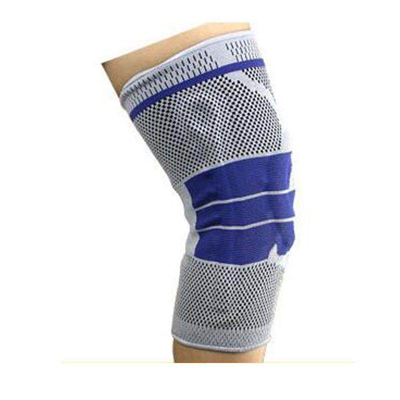 1pcs Summer Fitness Breathable Silicon Padded Knee Support Elastic Sports Leg Sport Cycling Knee Pad Wrap Support Brace Kneepad -  Light grey(Size XL)