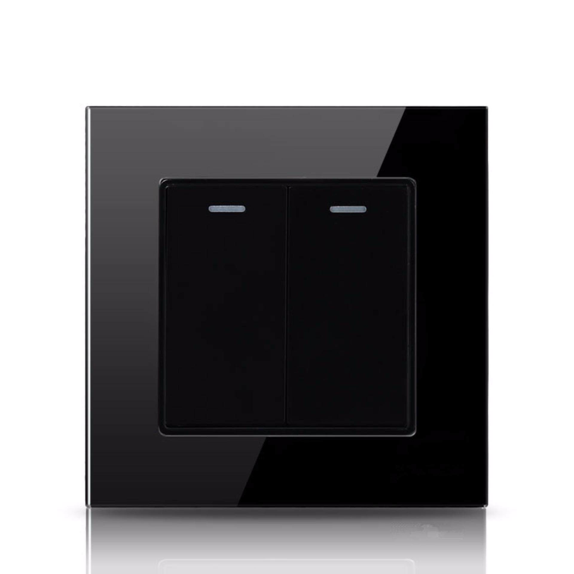 The Cheapest Price 2 Gang Way Black Color Glass Panel Light Switch Colours And 250v Wall Intl