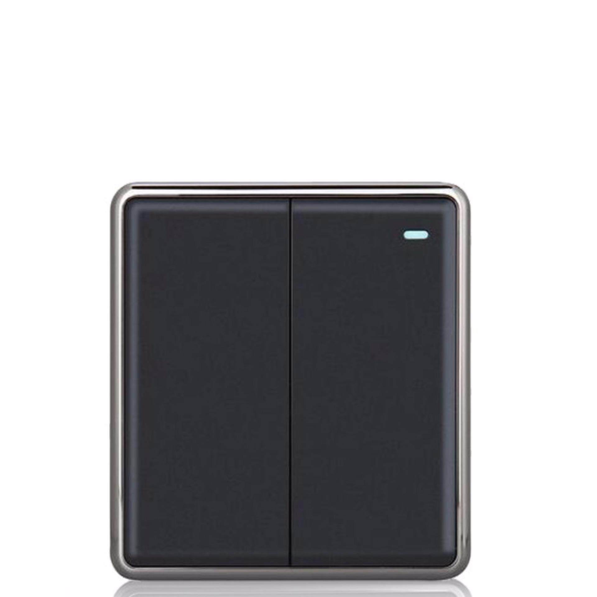 2 gang 2 way Black color panel light switch and 250V wall switch - intl