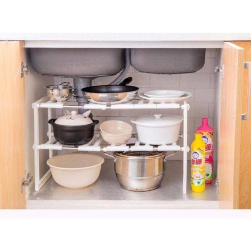 2 Layer Stainless Steel Under the Sink Retractable Rack Shelf Kitchen Storage Racks Retractable Storage Cabinet